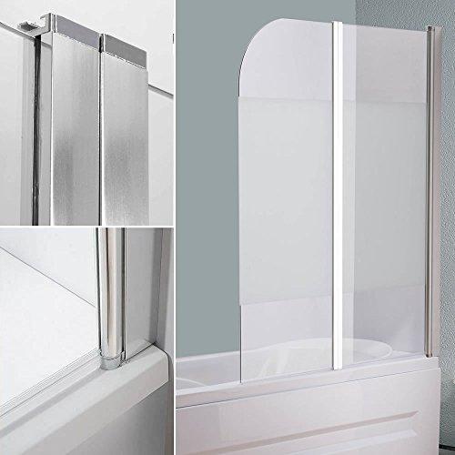 Melko® Duschabtrennung Badewannenaufsatz Duschtrennwand, ESG Sicherheitsglas (141 x 117 cm, Milchglas)