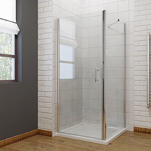 Neueröffnung 800x800mm Duschkabine Rechteck Eckeinstieg Rahmenlos Schwingtür + Seitenwand