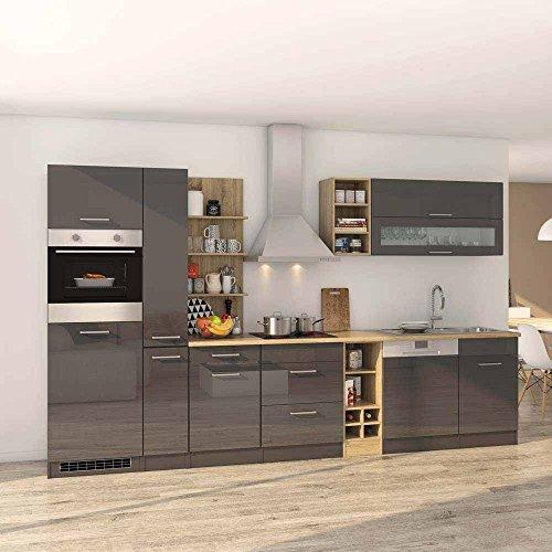 Pharao24 Küchenmöbel Set in Grau Hochglanz Eiche Sonoma mit Geräten (14-teilig)