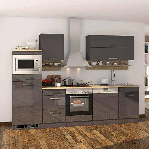 Pharao24 Küchenzeile in Grau Hochglanz Eiche Sonoma mit Geräten (13-teilig)