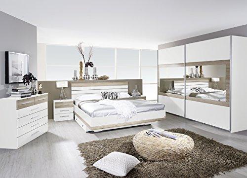 Rauch Schlafzimmer Komplettangebot Schwebetürenschrank 181 cm/Bett 160 x 200 cm/2 x Nachtkonsole Alpinweiß-Eiche Sanremo