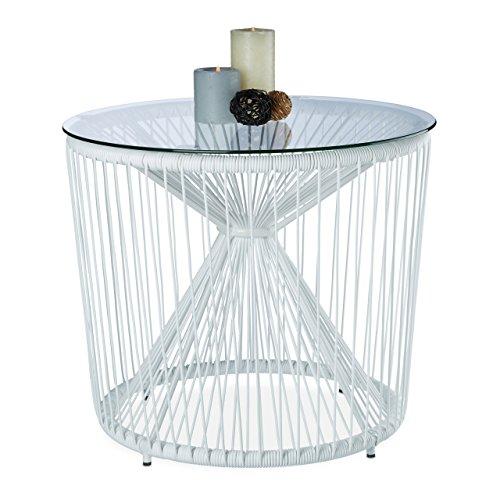 Relaxdays Beistelltisch Design RAYA, Weiß, Rund, Glasplatte, Modern, PE-Bänder, HxD: 46 x 55 cm, Gartentisch, White