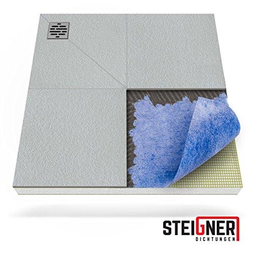 STEIGNER Duschelement inkl. DICHTFOLIE Duschboard befliesbar Dezentral Pos. 1, 80x80cm , EPS Bodenelement, Ablauf WAAGERECHT
