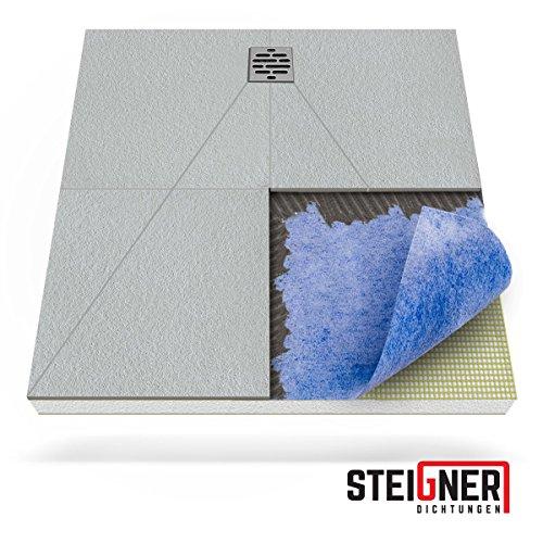STEIGNER Duschelement inkl. DICHTFOLIE Duschboard befliesbar Dezentral Pos. 2, 100x120cm , EPS Bodenelement, Ablauf WAAGERECHT