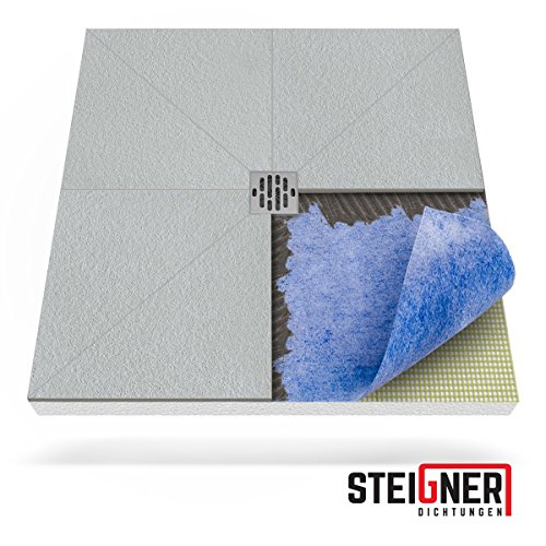 STEIGNER Duschelement inkl. DICHTFOLIE Duschboard befliesbar Punktablauf, 90x120 cm , EPS Bodenelement, Ablauf WAAGERECHT