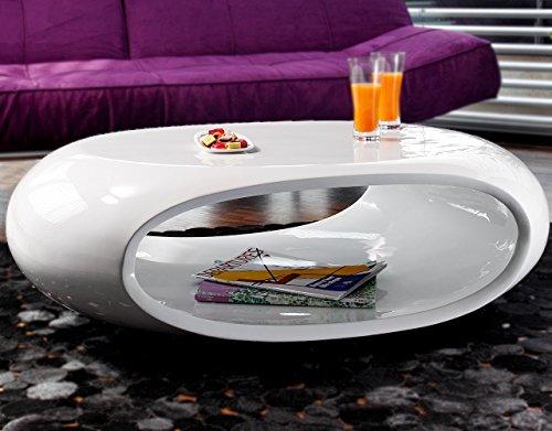 SalesFever Couch-Tisch Hochglanz weiß oval 100x70 cm aus Fiberglas | Ofu | Moderner Wohnzimmer-Tisch in weiss mit trendiger Optik durch High-Gloss Oberfläche 100cm x 70cm