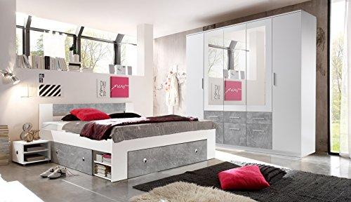 Schlafzimmer Komplett Set 4-tlg. STEFAN Bett 180 Kleiderschrank 212 cm Nachtkommoden weiß grau Beton