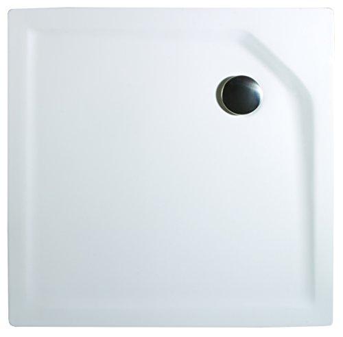 Schulte Duschbecken extra-flach 90x90 cm Sanitär-Acryl inkl Ablauf und Füßen Imperia,  1 Stück,  alpinweiß, 4004514018809