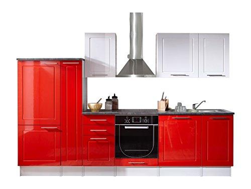 Stella Trading Welcome 6 Küche, Holzdekor, rot / weiß, 300 x 60 x 204 cm