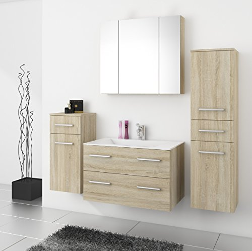 TOP Badmöbel / Badezimmer Regina 5tlg. Set in Sonoma Eiche mit 80 cm Waschtisch