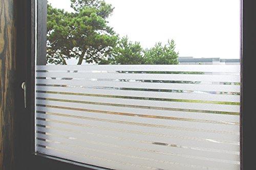 """Tamia-Home Statische Fensterfolie 90% UV-Sonnenschutz Selbsthaftende Sichtschutzfolie Glasdekor S018 """"Lineal Weiss"""", 60x150cm)"""