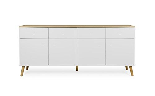 Tenzo 1678-454 Dot Designer Sideboard Holz, weiß / eiche, 43 x 192 x 86 cm
