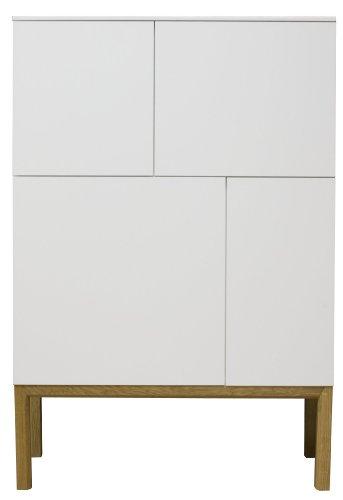 Tenzo 2276-001 Patch - Designer Sideboard / Schrank, Untergestell Eiche massiv, 138 x 92 x 40 cm, weiß eiche / lackiert matt