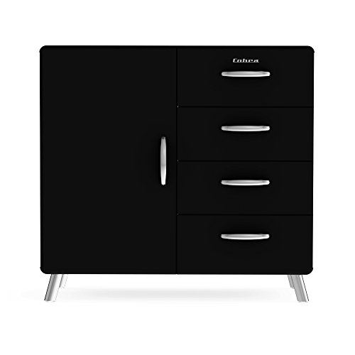 Tenzo 4935-024 Cobra Designer Kommode / Sideboard, 92 x 98 x 43 cm, MDF lackiert, schwarz