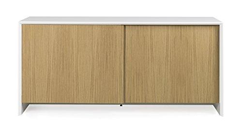 Tenzo 5932-454 Profil Designer Sideboard Holz, weiß / eiche, 47 x 173 x 70 cm