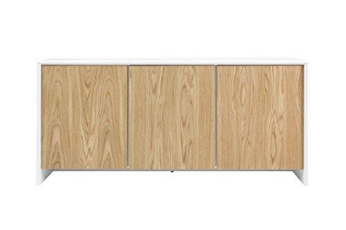 Tenzo 5933-454 Profil Designer Sideboard, 80 x 173 x 47 cm, weiß / eiche furniert