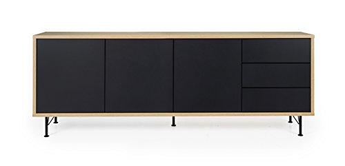Tenzo Flow Sideboard, Holz, schwarz / eiche, 206 x 44 x 79 cm
