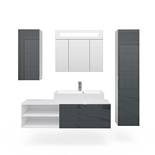 VICCO Badmöbel Set ALVARO LED weiß Anthrazit Hochglanz Echtlack - Waschtisch Waschbecken Spiegel