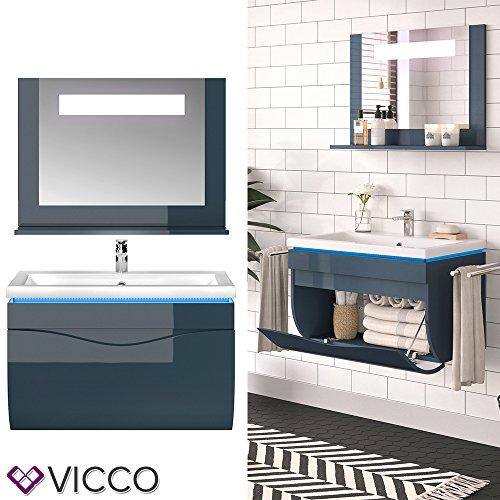 Vicco Badmöbel Set LIAM LED Hochglanz Echtlack - Waschtisch Waschbecken Spiegel Hochschrank Hängeschrank (Anthrazit Hochglanz, Set 3)
