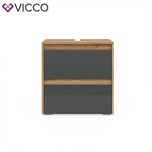 Vicco Badmöbel Set MAJEST Front Anthrazit Hochglanz - Spiegel Waschtischunterschrank Hochschrank Medischrank (Waschtischunterschrank)