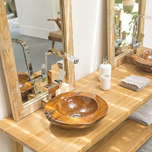 WOHNFREUDEN Teakholz Waschbecken rund ca 30 cm ✓ Top Qualität ✓ einzeln fotografiert + Auswahl Teakwaschbecken aus Bildergalerie ✓ Top Kundenservice ✓ Aufsatzwaschbecken aus Teakholz für ihr Badezimmer