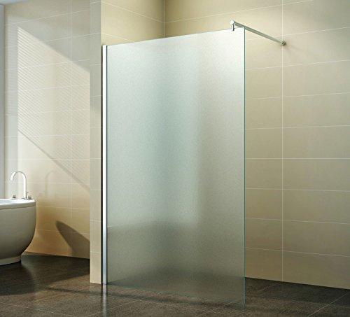 Walk in Duschabtrennung   Vollsatiniert   Milchglas   Duschwand   Dusche Glas   freistehend Seitenwand   Nano Beschichtung   Apperl-Effekt   Duschtrennwand   Glasscheibe   Duschkabine Klarglas   10 mm ESG   40 cm bis 160 cm   Jupiter, Breite:70 cm