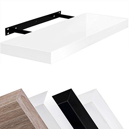 Wandboard Schweberegal Hängeregal Bücherregal Küchenregal freischwebend 90cm Hochglanz-Weiß - 3 weitere Farbvarianten,weitere Längen 50cm 70cm 110cm