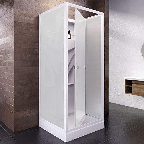 Wellnessdusche Fertigdusche Komplettdusche Duschtempel, 80x80 cm, Sicherheits-Glas matt, Profile weiß, Siena