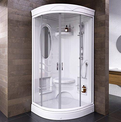 Wellnessdusche Fertigdusche Komplettdusche Duschtempel 92x92 cm Runddusche Glas weiß Mailand, 1 Stück, 4056397002024