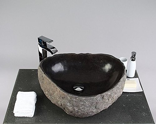 Wohnfreuden Naturstein Waschbecken Waschtisch 50 cm Waschschale Findling
