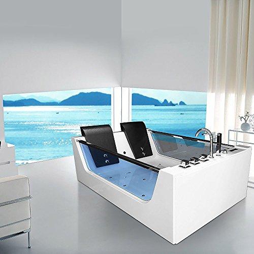 XXL Luxus Whirlpool Badewanne Avignon mit 22 Massage Düsen + LED Beleuchtung + Heizung freistehende Wanne mit Glas Hot Tub Spa indoor / innen für 2 Personen