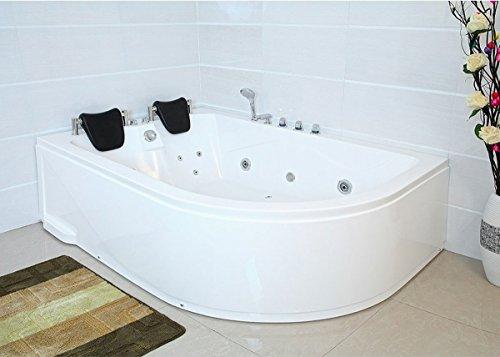 XXL Luxus Whirlpool Badewanne Bali LINKS mit 14 Massage Düsen + Armaturen Wanne mit Kopfstützen Hot Tub Spa indoor / innen für 2 Personen für linke Eckmontage