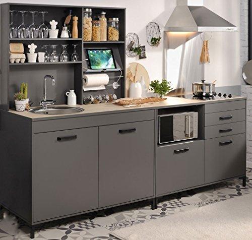 expendio Singleküche Mona 2 grau 3-teilig Küchenzeile Schrank Küchenschrank Küchenblock Miniküche Kleinküche