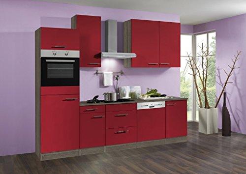 idealShopping Küchenblock mit Geschirrspüler und Ceranfeld Imola in rot glänzend 270 cm breit