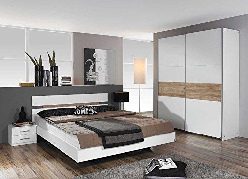 lifestyle4living Schlafzimmer, Schlafzimmermöbel, Set, komplett, Komplettset, Schlafzimmereinrichtung, komplettangebot, Einrichtung, 3-teilig, weiß, San Remo, Rauch
