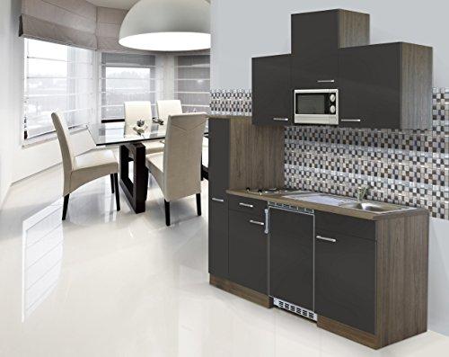 respekta Einbau Single Küche Küchenblock 180cm Eiche York Nachbildung Grau CERAN