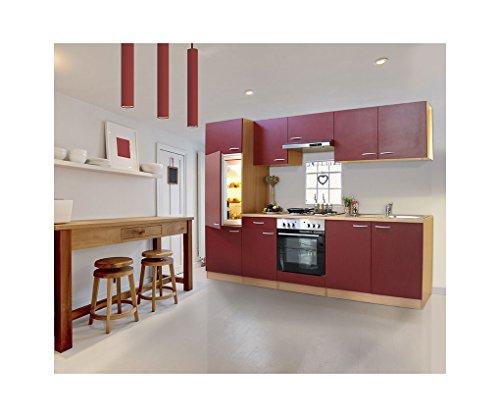 respekta Küche Küchenleerzeile Einbauküche 270 Buche ROT LEERBLOCK LBKB270BR