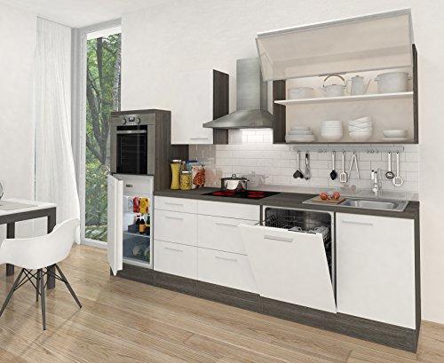 respekta Küchenleerblock Hochbau 280 cm Eiche grau Nachbildung Weiß Hochglanz APL Eiche grau Nachbildung