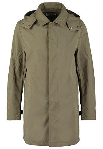 Pier One Kurzer Mantel für Herren in Schlamm Grün - Long Jacke als Übergangsmantel, XL