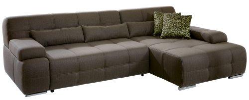 CAVADORE Eckcouch Boogies mit Longchair rechts/Schlaf-Sofa mit ausziehbarem Bett und großer Liegefläche/Rückenecht/Inklusive Nierenkissen/Größe: 268x76x173 (BxHxT)/Farbe: Schlamm (braun)