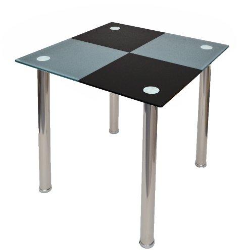Design Esstisch Küchentisch Tisch Ecktisch Karo Schwarz Grau aus Edelstahl mit 10 mm ESG Sicherheitsglas