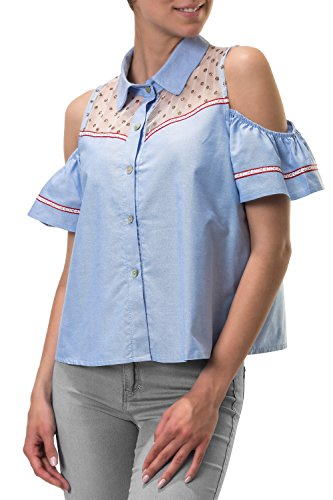 Hachiro Damen Kurzarmbluse Cold Shoulder Bluse (S, Light Blue)