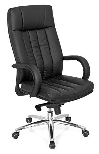 hjh OFFICE 724200 Chefsessel Bürostuhl XXL G 300 Kunstleder schwarz, bequeme dicke Polsterung, hohe Rückenlehne, feste Armlehne, Drehstuhl, Bürostuhl Sessel, Chefsessel ergonomisch, Chefsessel 150Kg