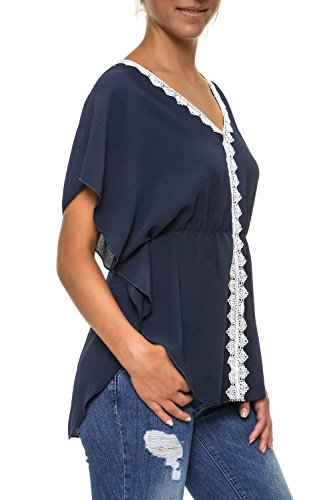 Hachiro Damen Bluse Tunika Kaftan Blusenshirt Shirt (M, Navy)