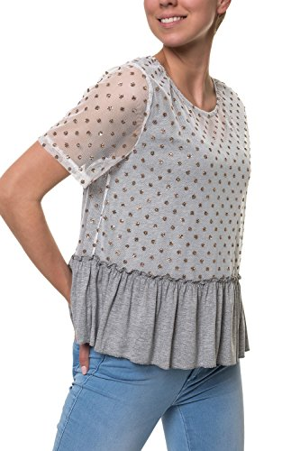 Hachiro Damen T-Shirt Peplum Shirt (M, Grey)