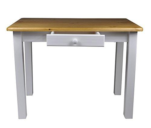 Esstisch mit Schublade Küchentisch Tisch Restaurant Massiv holz Kiefer (60x80, Erle)