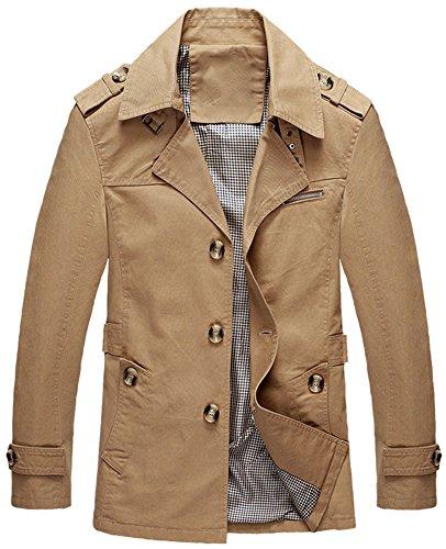 Mochoose Herren Trench Baumwolljacke Klassische Reverse Kragen Knopf Mantel Jacke Langarm(Dunkles khaki,XS)