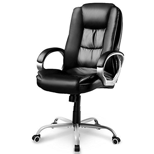 Life Carver® schwarz Bürostuhl Chefsessel Leder Bürodrehstuhl Bürosessel Profi-Bürostuhl Lederimitat PU, 78 x 71 x 108-118cm