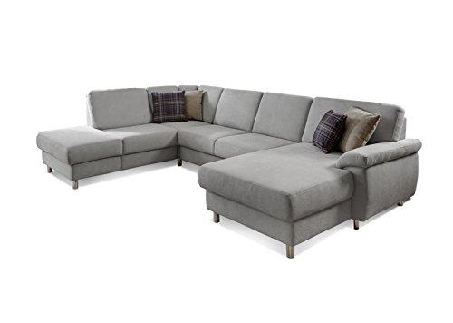 """Eckcouch """"Winstono"""" / Federkern Sofa mit Bettfunktion und verstellbarer Rückenlehne / Longchair rechts / Microfaser / Hellgrau / 317 x 220 x 88 (L x B x H)"""