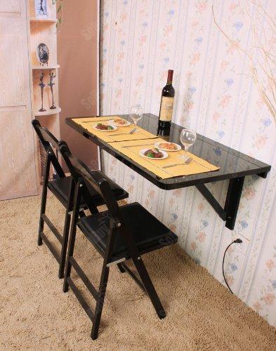 SoBuy Wandklapptisch, Klapptisch, Esstisch, küchentisch aus MDF, 100 x 60cm, Ohne Stuhl FWT06 (Schwarz)